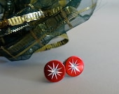 Red and Silver FireWorks. Stud Earrings. Vintage Cabochons.