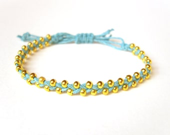 Beaded Friendship Bracelet, Braided Blue Cord Bracelet, Gold Bead Bracelet, String Jewelry, Gifts For Teenagers, UK Seller