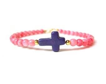 Pink Coral Bead Bracelet, Sideways Cross Bracelet, Gemstone Bracelet, Under 30