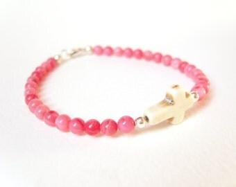 Sideways Cross Bracelet, Genuine Coral Bracelet, Beach Bracelet, Pink Coral Jewelry UK