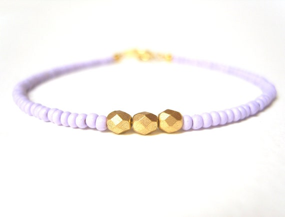 Gold Nugget Bracelet, Beaded Friendship Bracelet, Seed Bead Jewelry, Contemporary Jewelery