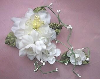 Romantic Flower Wedding Hair Clip, Boho Bridal Accessory, Birdcage Veil Flower, White Roses Clip