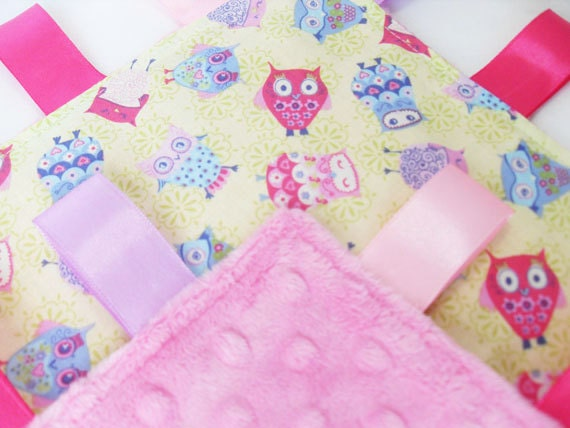 Taggie Lovey Owl Fabric  - Choose your Minky Colour