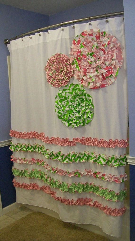 Shower curtain custom made designer fabric ruffles and flowers candy