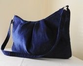 Navy Blue Corduroy Zippered Clutch