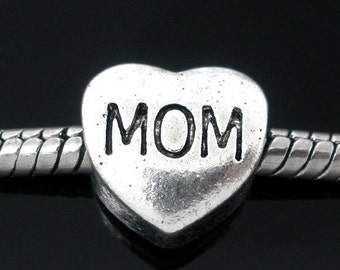 20 MOM Beads -  Antique Silver - 11x11mm - Ships IMMEDIATELY from California - SC313a