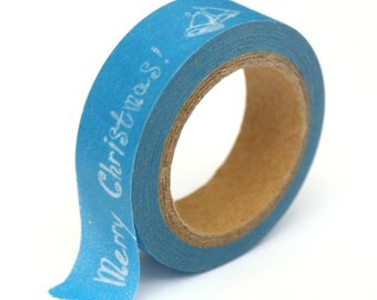 """SALE Washi Tape Blue """"Merry Christmas"""" - 15mmx10m - 1 Roll - Ships IMMEDIATELY from California - TP155"""