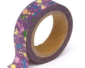 Washi Tape - Purple Paint Splatters - 15mm x 10m - TP193