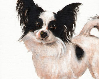 New Original Oil Art PAPILLON Portrait Painting Artwork Puppy Dog Artist Signed