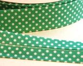 Jade green polka dot bias binding Trimming 3 metres uk seller