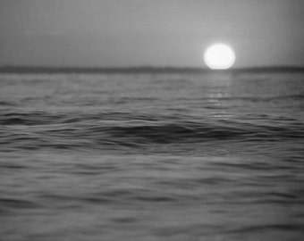 Black and White Photography, Ocean Photograph, Sunset Photo, Oversized Wall Art, Beach House Decor