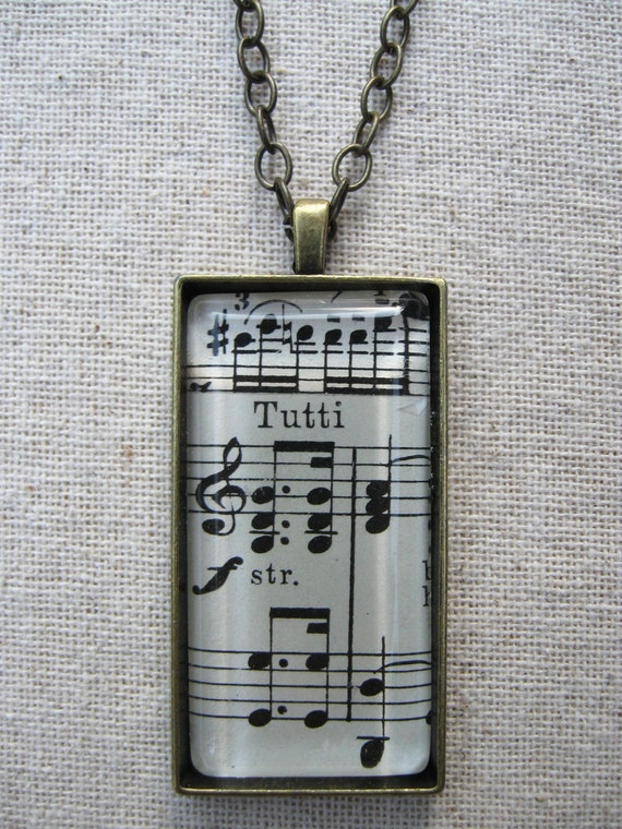 Glass Music Pendant Necklace, Vintage Music 25mm x 50mm Pendant, Music Theme Jewelry, Women's Jewelry, High Fashion, Antique Brass