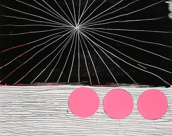 11x14 Geometric Abstract Painting, Pink & Black on Panel NY1039