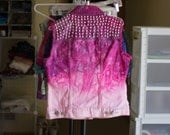 Think Pink III // dip dyed distressed studded denim vest