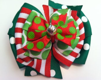 Red & White Green Polka Dot Stripe Jingle Bell HOLIDAY CHRISTMAS Stacked Boutique Style Ribbon Bow Handmade for PETS Dog Collar Accessory