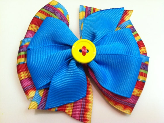 Pink Yellow Orange Red BRIGHT Multi Stripe Turquoise Blue Button Stacked Boutique Style Ribbon Handmade for PETS Dog Bow Collar Accessory