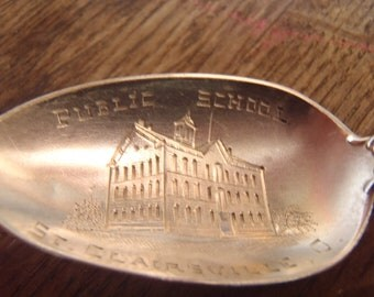Public Schools St. Clairsville, O. Sterling Silver Spoon 1911 Ohio