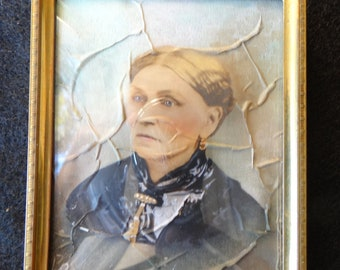 1800's Antique French Assemblage Portrait, Hand Painted, Framed