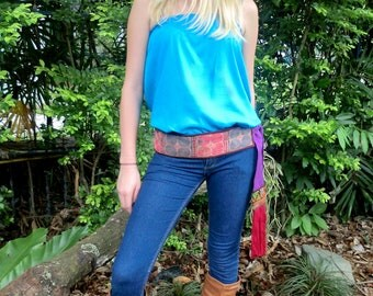 Wrap Belt In Colorful Vintage Hmong Embroidery and Thai Silk