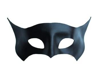 Black Genuine Leather Superhero/Bat Masquerade Eye Mask