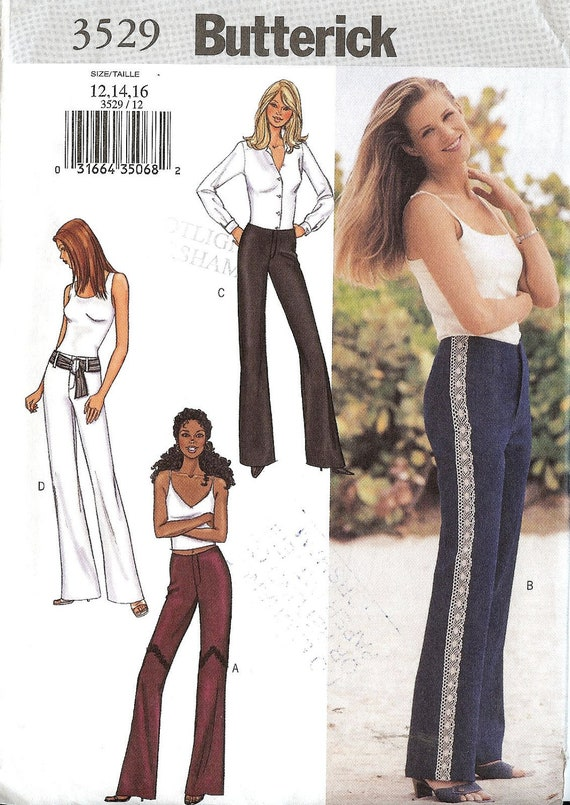 PATTERN Butterick 3529 Ladies Trousers/Pants below waist fitted flared Size 12-14-16 Uncut