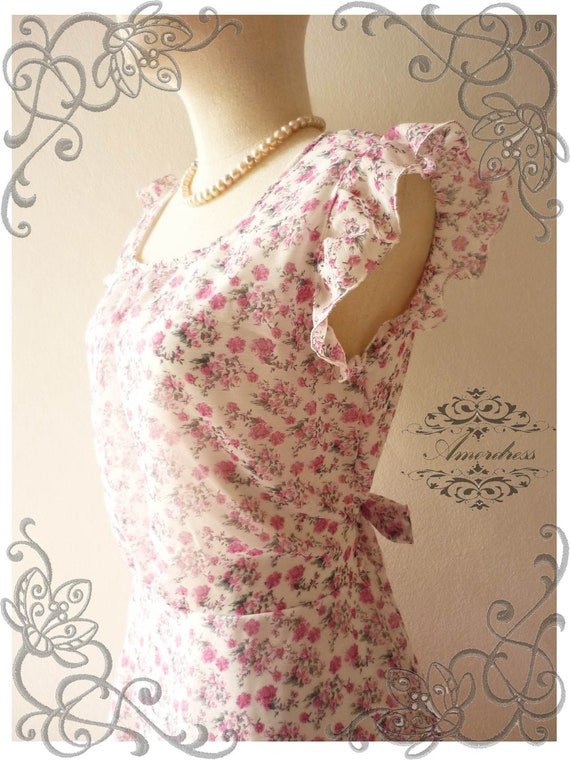 Amor Vintage Inspired Pink Floral Heaven Floral Sweet Chiffon Dress -Fit Size S-M- SALE