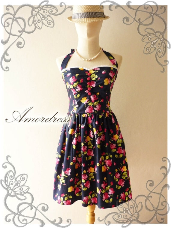 Once Upon A Time Vintage 50's Inspired Party Halter Neck Dress Navy Pink Rose Paradise w/ Little While Lace Dress for Any Occasion -Size M-