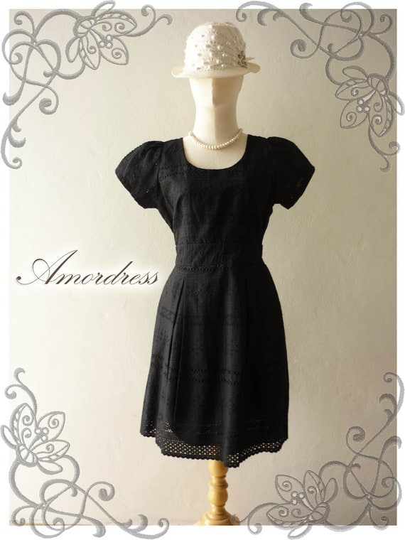 Amor Vintage Inspired Duchess French Lace Dress Short Sleeve Gorgeous in Classy Black