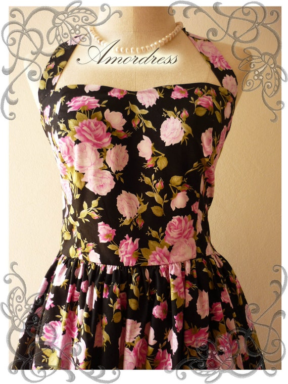 Amor Vintage 50's Inspired Romantic Shabby Chic Halter Neck Black Pink Rose Wedding Prom Party Dress - Once Upon A Time-  Size S-