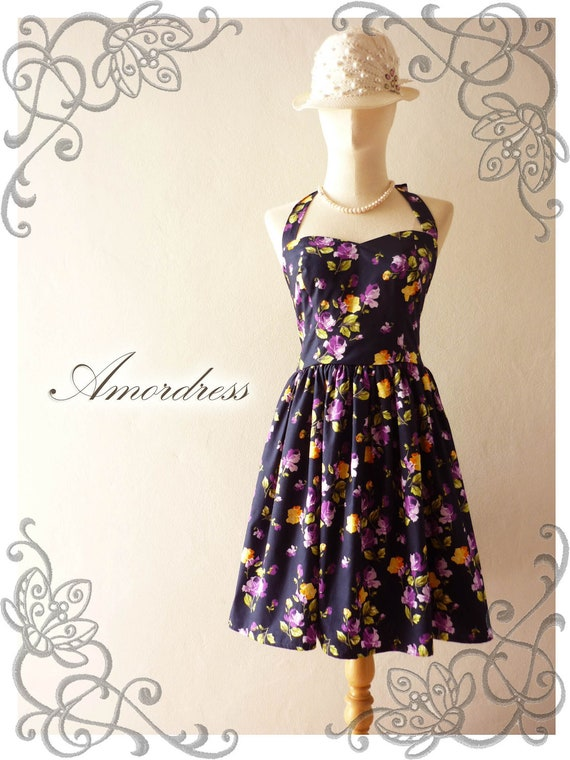 SALE  Dress Purple Floral Vintage Inspired Dress Bridesmaid Wedding Prom Party Dress - Once Upon A Time-  Size XS,S,M,L,CUSTOM-