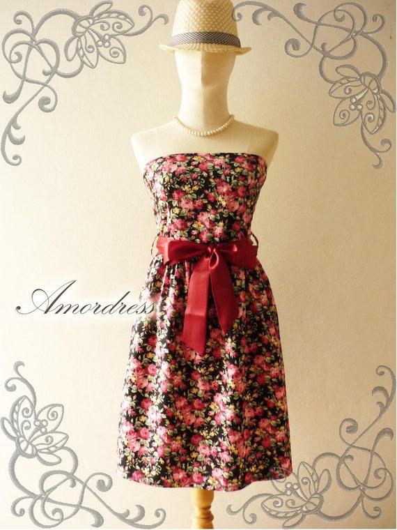Spring Floral Dress Black with Romantic Rose Cotton Dress -Xs-S-