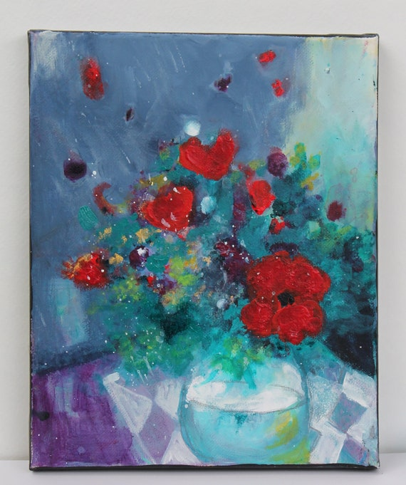"Reserved for Brigitta Original Abstract Floral Still Life on Small Canvas Acrylic Painting ""Red Poppies in a Vase"""