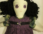 Cloth doll, rag doll, 21 inches, black hair and violet eyes, OOAK