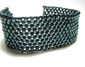 Bracelet  twin bead Teal and Black