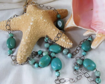 Sterling Silver & Turquoise Stations Long Necklace