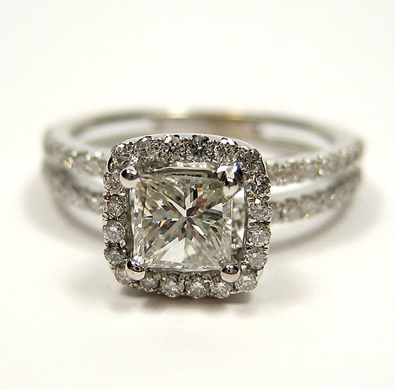 Vintage Style Wedding Rings: Reserved....1.20ct Antique Vintage Style Square PRINCESS