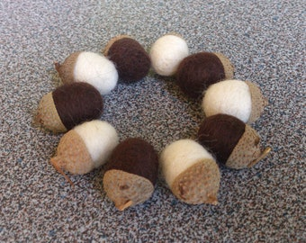 10 small needle felted acorns in white and dark chocolate brown merino wool gift under 15 eco friendly