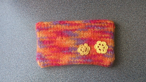 Knitted felted zipper clutch purse pouch gift under  20 dollars eco friendly