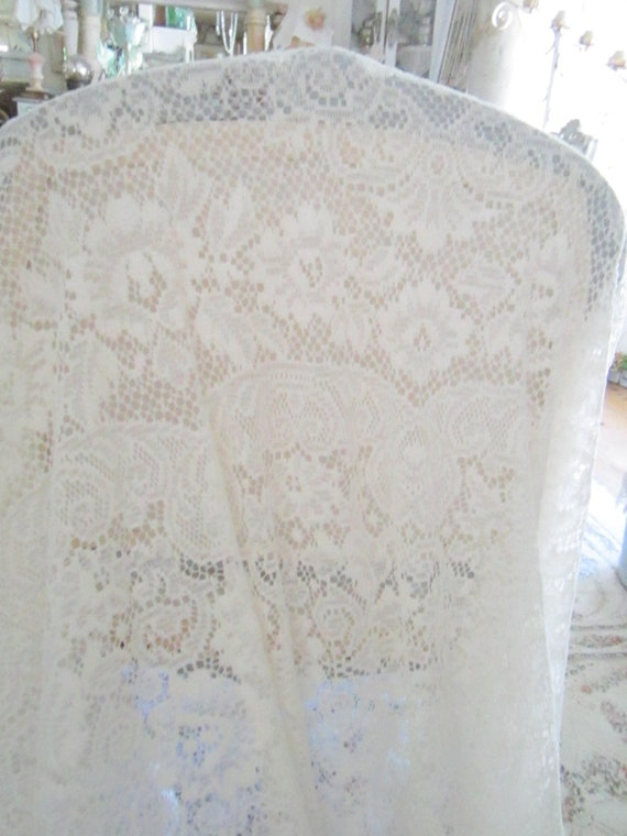 Vintage roses and scrolls  french  lace tablecloth victorian shabby chic bohemian prairie