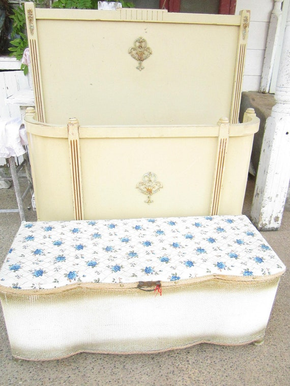 ON SALE Vintagecream and gold  roses trunk ottoman  paris apt shabby chic