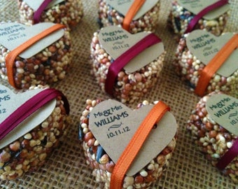 100 petite bird seed hearts with personalized tag, birdseed wedding favor, love birds, wedding favors