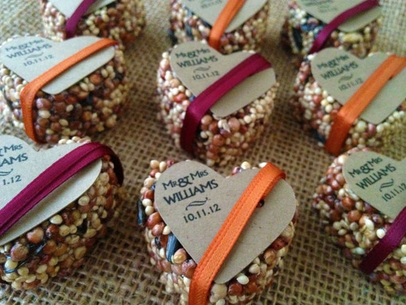 75 petite bird seed hearts with personalized tag, birdseed wedding favor, love birds, wedding favors