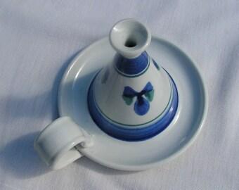 Signed 1990 Clay Incense Stick Burner Holder White with Cobalt Blue