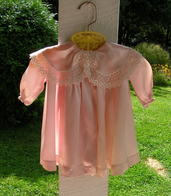 30s Pink Silk Satin Baby Coat Lace Collar Size  3 months to 6 months