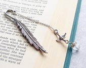 Sale Silver feather bookmark. Holiday Gift. Christmas Stocking Stuffer