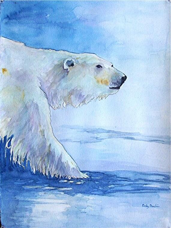 Polar Bear, Ice Bear, Arctic Wild Life, Child's Room decoration - Original Watercolor Painting by ebsq   Artist Ricky Martin - FREE SHIPPING