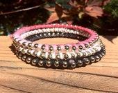 Bracelets Bangle Stackable Beaded Pink Black White