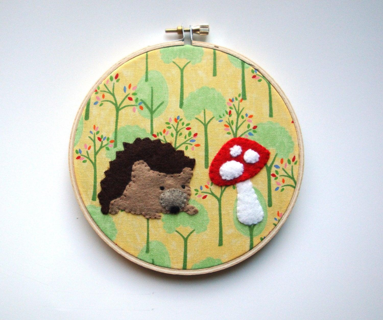 Kids wall art hand embroidery hoop by jenniferallevato