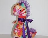 SALE  Tie Dye Girly Dinosaur, Christmas Stocking or Baby Shower Plush Softie