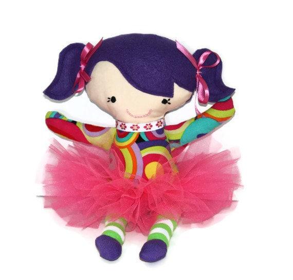 """SALE   Dizzy Lizzie Purple Pink  & Lime Green Tutu Doll 14"""" tall Cloth doll Ballerina"""